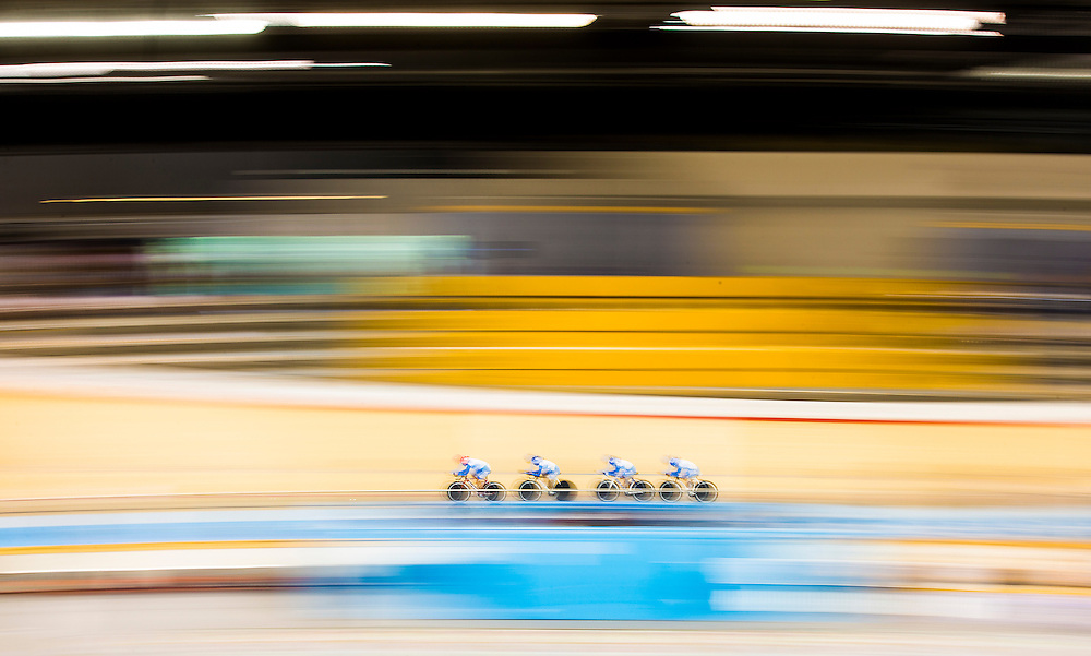Guatemala's Nicolle Bruderer, Emelyn Galicia Ramirez, Cynthia Lee Lopez, and Jasmin Lopez Soto, compete during the track cycling women's team pursuit qualification at the Pan Am Games in Milton, Thursday July 16, 2015.    THE CANADIAN PRESS/Mark Blinch
