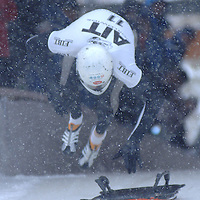 17 November 2005:  Peter Van Wees of the Netherlands at the start of the FIBT World Cup Skeleton competition on November 17, 2005 at the Lake Placid bobsledding complex in Lake Placid, NY.