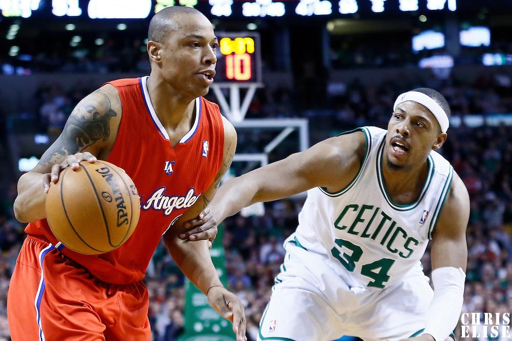 03 February 2013: Los Angeles Clippers small forward Caron Butler (5) drives past Boston Celtics small forward Paul Pierce (34) during the Boston Celtics 106-104 victory over the Los Angeles Clippers at the TD Garden, Boston, Massachusetts, USA.