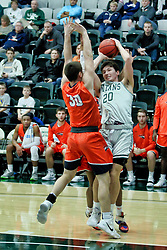 BLOOMINGTON, IL - December 15: Anthony Marlowe and Matthew Leritz during a college basketball game between the IWU Titans  and the Carroll Pioneers on December 15 2018 at Shirk Center in Bloomington, IL. (Photo by Alan Look)