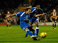 Photo: Jed Wee.<br />Hull City v Cardiff City. Coca Cola Championship. 16/12/2006.<br /><br />Cardiff's Michael Chopra fires a shot in on goal.