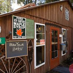 Outside the sugar house at the Sunday Mountain Maple Farm in Orford, New Hampshire.