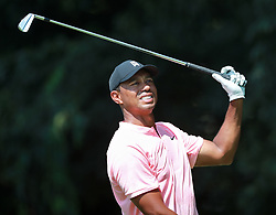 September 20, 2018 - Atlanta, Georgia, U.S. - TIGER WOODS reacts to his tee shot on the second hole during the first round of the Tour Championship at East Lake Golf Club on Thursday. (Credit Image: © Curtis Compton/Atlanta Journal-Constitution/TNS via ZUMA Wire)