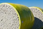 Round cotton bales in field after harvest near Toobeah, Queensland, Australia.