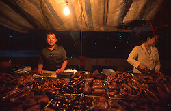 CHINA SICHUAN PROVINCE XITUO MAY99 - Traders sell smoked meats at a night-time market on the shores of the Yangtse river. Seven large cities, including Chongquing, and thousands of villages will be submerged once the water level rises after the completion of the controversial Three Gorges Dam project further downriver. The flooding of areas reaching back more than 550Km upriver will require the evacuation and resettlement of more than 10 million people.  jre/Photo by Jiri Rezac. © Jiri Rezac 1999. . Contact: +44 (0) 7050 110 417. Mobile:  +44 (0) 7801 337 683. Office:  +44 (0) 20 8968 9635. . Email:   jiri@jirirezac.com. Web:     www.jirirezac.com
