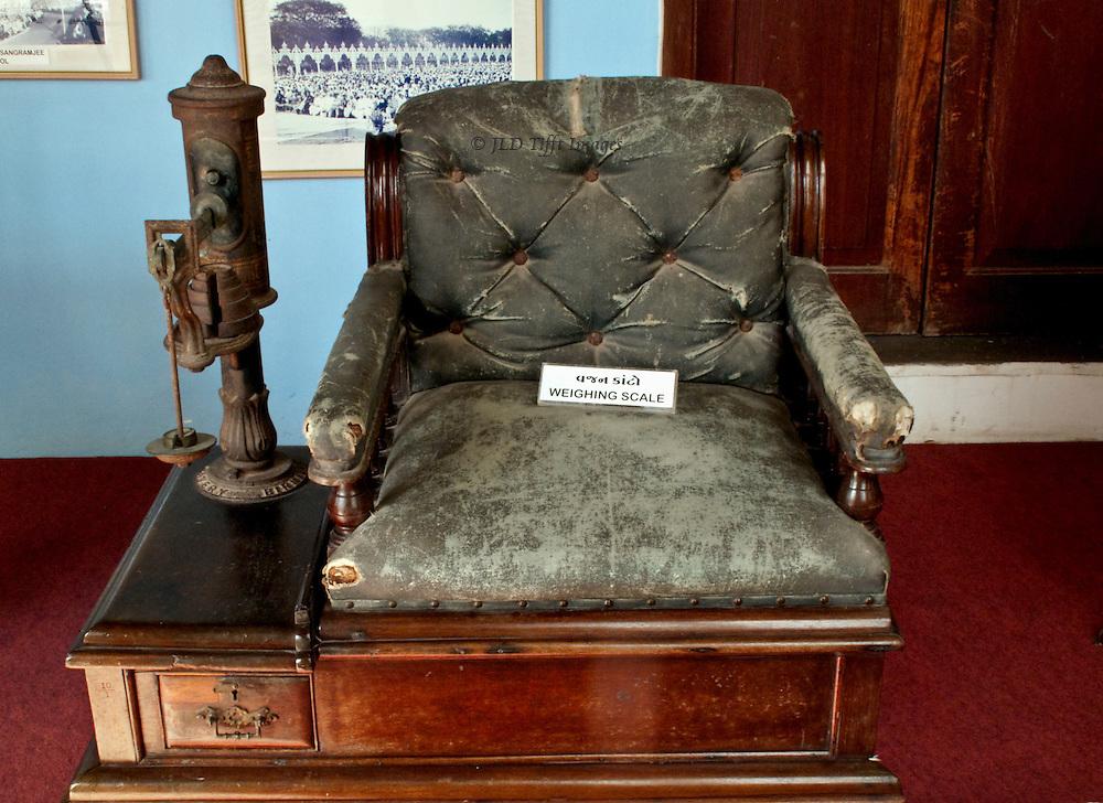 Chair scales on display at the Darbar Hall Museum, Junagadh, Gujarat.