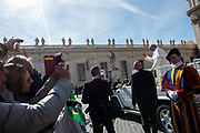 Vatican City - February 27, 2019: Pope Francis walking out at the end of his weekly general audience in St. Peter's Square at the Vatican.