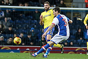 Leeds United midfielder Stuart Dallas (15)  closes down Blackburn Rovers Defender ,  Gordon Greer (3) during the EFL Sky Bet Championship match between Blackburn Rovers and Leeds United at Ewood Park, Blackburn, England on 2 February 2017. Photo by Pete Burns.