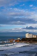 Winter in Biarritz, with a wild Atlantic Ocean lashing the coast.