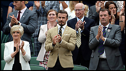 Image ©Licensed to i-Images Picture Agency. 28/06/2014, Wimbledon, London, United Kingdom. David Beckham with his mother sandra in the Royal box on Day 6 of the Wimbledon Tennis Championship. Picture by Andrew Parsons / i-Images