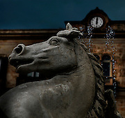 Detail of a horse's head, Fontana Diana, Giulio Moschetti, 1906, on Piazza Archimede in Ortigia, Syracuse, Sicily, pictured on September 13, 2009, in the morning. The Diana Fountain is the centre of the Piazza Archimede in Ortigia, the historic centre of Syracuse. It tells the mythological story of Diana transforming the nymph Arethusa into a spring on a site in Ortigia. Ortigia is one of the names associated with the goddess Artemis, the Romans identified her as Diana. The Piazza is named after the greek mathematician and philosopher Archimede who died defending Syracuse against the Romans. Today the city is a UNESCO World Heritage Site. Picture by Manuel Cohen.