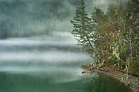 Fog over Baker Lake, North Cascades Washington