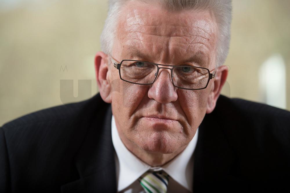 23 MAR 2012, BERLIN/GERMANY:<br /> Winfried Kretschmann, B90/Gruene, Ministerpraesident  Baden-Wuerttemberg, waehrend einem Interview,Landesvertertung Baden-Wuerttemberg<br /> IMAGE: 20120323-03-030