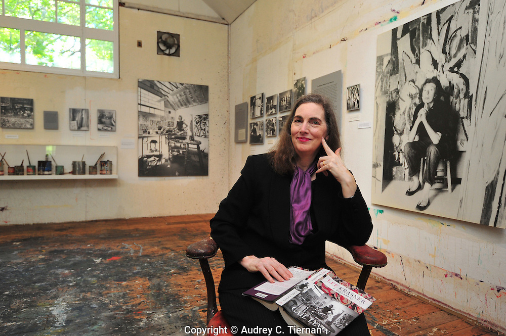 Springs, NY: Saturday, May 21, 2011-- Baruch College's Distinguished Professor of Art History Gail Levin at the Pollock-Krasner House.  Levin poses in their studio which displays photos of Lee Krasner in that very studio. Levin has just published a biography about Lee Krasner.  © Audrey C. Tiernan