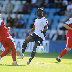 TELFORD COPYRIGHT MIKE SHERIDAN 1/9/2018 - GOAL. Daniel Udoh of AFC Telford charges down Matt Regan's clearance which ricochets into the net to make it 1-1 during the Vanarama Conference North fixture between AFC Telford United and Ashton United FC.