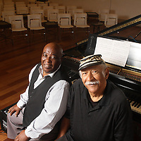 Maurice M. Martinez, a professor at UNCW's Watson College of Education, left, and Grenoldo Frazier, pianist, pose for a portrait Thursday September 5, 2013 at Cameron Art Museum in Wilmington, N.C. Martinez produced and directed a documentary about Frazier titled The Piano Entertainer: Stompin' Grenoldo Frazier.  (Jason A. Frizzelle)