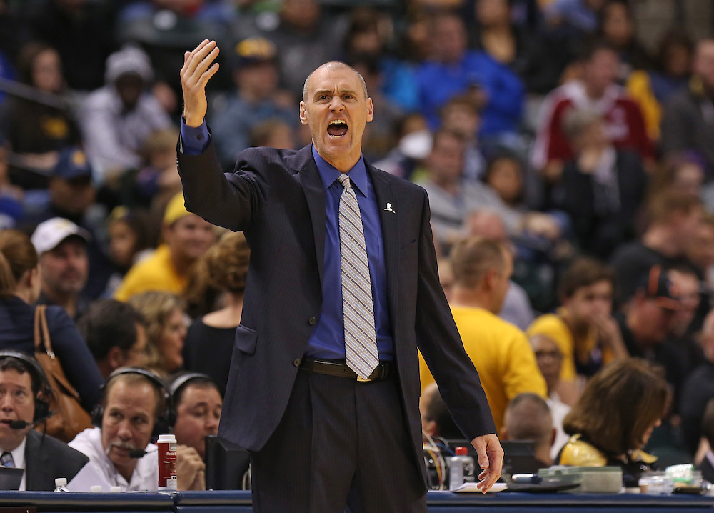 Dallas Mavericks head coach Rick Carlisle calls out to his team against the Indiana Pacers at Bankers Life Fieldhouse Saturday October 18, 2014. The Pacers won 98-93