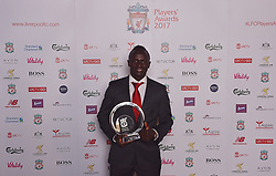 LIVERPOOL, ENGLAND - Tuesday, May 9, 2017: Liverpool's Sadio Mane wins the First Team Players' Player of the Year 2017 Award sponsored by B&M Bargains at the Liverpool FC Players' Awards 2017 at Anfield. (Pic by Andrew Powell/Liverpool FC/Pool/Propaganda)