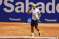 April 23, 2018 - Barcelona, Spain - BARCELONA, SPAIN - APRIL 23: DuÅ¡an Lajović celebrating his victory against Martinez Portero during the Barcelona Open Banc Sabadell 66º Trofeo Conde de Godo at Reial Club Tenis Barcelona on 23 of April of 2018 in Barcelona. (Credit Image: © Xavier Bonilla/NurPhoto via ZUMA Press)