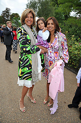 Left to right, VIMLA LALVANI, her daughter DIVIA CADBURY holding her daughter ARYANA at the unveiling of 'Isis' a sculpture by Simon Gudgeon hosted by the Royal Parks Foundation and the Halcyon Gallery by the banks of The Serpentine, Hyde Park, London on 7th September 2009.