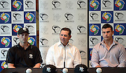 New Manager Andy Skeels with Scott Campbell (L) and Dan Devonshire at the Baseball New Zealand Diamond Blacks press conference ahead of competing at the World Baseball Classic Qualifier in Taiwan in November. Skycity Grand Hotel, Auckland, Friday 21 September 2012. Photo: Andrew Cornaga/Photosport.co.nz