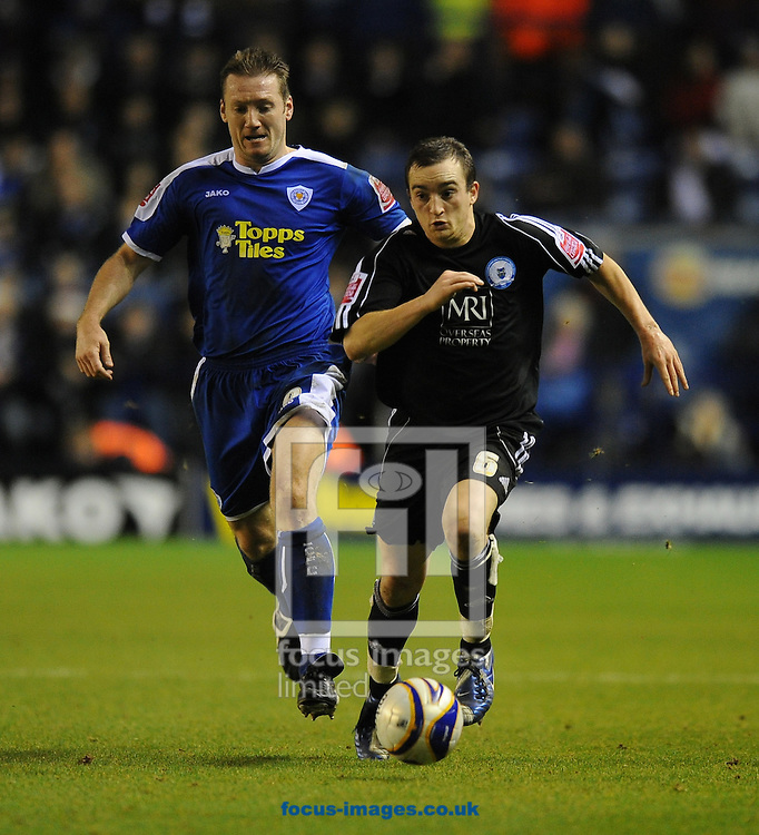 Leicester - Saturday December 22th, 2008: Steve Howard of Leicester City and Charlie Lee of Peterborough United during the Coca Cola League One match at The Walkers Stadium, Leciester. (Pic by Alex Broadway/Focus Images)