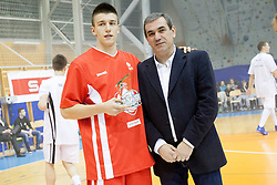 Matic Rebec and Roman Volcic during Slovenian basketball All Stars Grosuplje 2013 event, on December 29, 2013 in Arena Brinje, Grosuplje, Slovenia. (Photo By Urban Urbanc / Sportida.com)