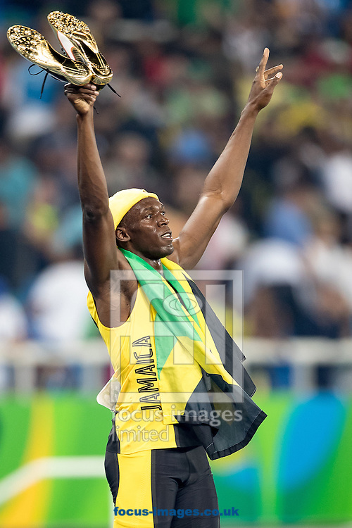 Usain Bolt of Jamaica retains his title and wins his third successive Gold Medal in the Men's 100m on day nine of the XXXI 2016 Olympic Summer Games in Rio de Janeiro, Brazil.<br /> Picture by EXPA Pictures/Focus Images Ltd 07814482222<br /> 14/08/2016<br /> *** UK &amp; IRELAND ONLY ***<br /> <br /> EXPA-GRO-160815-5422.jpg