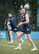 Scrum-half MIKE PHILLIPS of French rugby union team, Racing 92 from Paris, during training in Hong Kong. They are preparing ahead of their upcoming match against New Zealand's Super League team, The Highlanders
