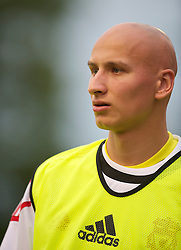 ZUG, SWITZERLAND - Wednesday, July 21, 2010: Liverpool's Jonjo Shelvey warms-up during the Reds' first preseason match of the 2010/2011 season against Grasshopper Club Zurich at the Herti Stadium. (Pic by David Rawcliffe/Propaganda)