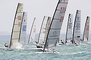 The start of race three of the A Class World championships regatta being sailed at Takapuna in Auckland. 12/2/2014