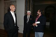 Andy Hall, David Hockney and Julian Schnabel, Georg Baselitz, Royal Academy. 18 September 2007. -DO NOT ARCHIVE-© Copyright Photograph by Dafydd Jones. 248 Clapham Rd. London SW9 0PZ. Tel 0207 820 0771. www.dafjones.com.