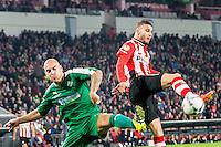 EINDHOVEN - PSV - SC Genemuiden , Voetbal , KNVB Beker , Seizoen 2015/2016 , Philips stadion , 25-10-2015 , PSV speler Rai Vloet (r) in duel met Genemuiden speler Mike van der Kooy (l)