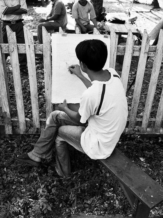 Open air art class.