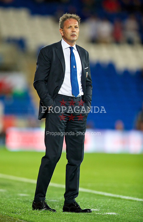 CARDIFF, WALES - Tuesday, September 10, 2013: Serbia's head coach Sinisa Mihajlovic during the 2014 FIFA World Cup Brazil Qualifying Group A match against Wales at the Cardiff CIty Stadium. (Pic by David Rawcliffe/Propaganda)