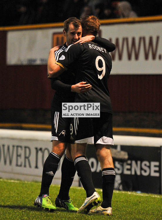 Adam Rooney is congratulated by Niall McGinn after scoring<br /> .....(c) Angie Isac   SportPix.org.uk