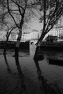 France. Paris. 5th district.  left bank, Quai de la Tournelle and Seine river,/ crue de la Seine et inondation des quais