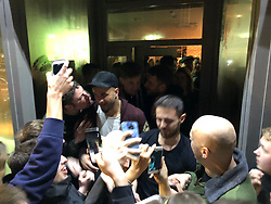 Manchester City players including Vincent Company, John Stones, Bernardo Silva, Fabian Delph and Kyle Walker celebrate winning the Premier League at the Hale Wine Bar, Manchester.