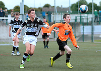 13 Aug 2016:  Thomas Flynn, Geevagh, right, in action against Jamie Lambe, Magheracloone.  Futsal Boys U15 semi-final, , Monaghan v Geevagh, Sligo.  2016 Community Games National Festival 2016.  Athlone Institute of Technology, Athlone, Co. Westmeath. Picture: Caroline Quinn