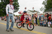 Red, White and Blue wheels along the parade route during the Gilmanton 4th of July parade Saturday morning.  (Karen Bobotas/for the Laconia Daily Sun)