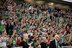 Supporters of Cedevita Olimpija during basketball match between KK Cedevita Olimpija and Darussafaka Tekfen Istanbul in 1st Round of Eurocup 2019/20, on October 2, 2019 in Arena Stozice, Ljubljana, Slovenia. Photo by Vid Ponikvar / Sportida