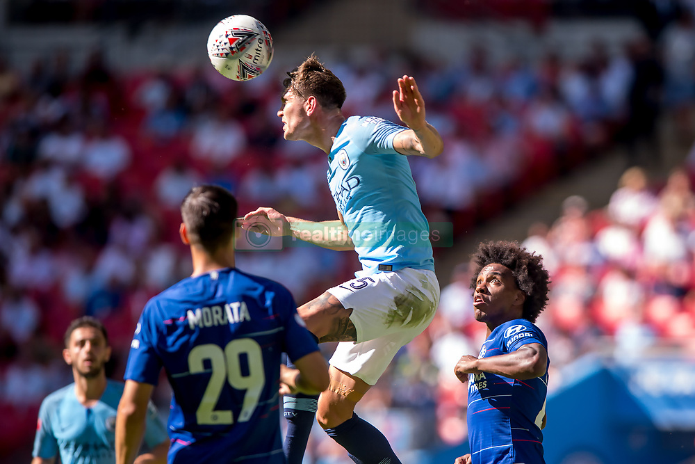 August 5, 2018 - John Stones of Manchester City heads the ball during the 2018 FA Community Shield match between Chelsea and Manchester City at Wembley Stadium, London, England on 5 August 2018. (Credit Image: © AFP7 via ZUMA Wire)