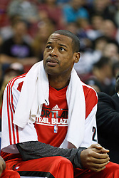 January 19, 2011; Sacramento, CA, USA;  Portland Trail Blazers power forward Marcus Camby (23) sits injured on the bench during the first quarter against the Sacramento Kings at the ARCO Arena. Portland defeated Sacramento 94-90 in overtime.
