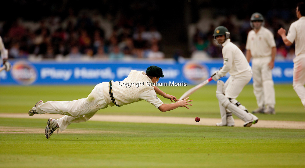 Steve Smith stops a certain four during the MCC Spirit of Cricket Test Match between Pakistan and Australia at Lord's.  Photo: Graham Morris (Tel: +44(0)20 8969 4192 Email: sales@cricketpix.com) 14/07/10