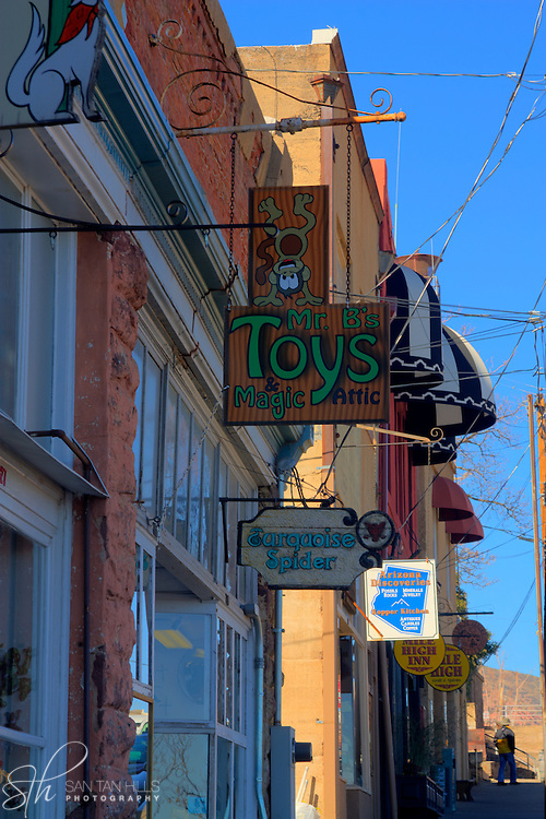 Store fronts along Main Street in Jerome, AZ
