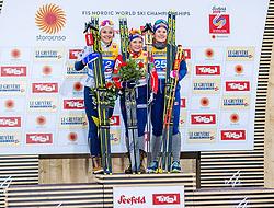 21.02.2019, Langlauf Arena, Seefeld, AUT, FIS Weltmeisterschaften Ski Nordisch, Seefeld 2019, Langlauf, Damen, Sprint, Flower Zeremonie, im Bild v.l. Silbermedaillengewinnerin Stina Nilsson (SWE), Weltmeisterin und Goldmedaillengewinnerin Maiken Caspersen Falla (NOR), Bronzemedaillengewinnerin Mari Eide (NOR) // f.l. Silver medalist Stina Nilsson of Sweden World champion and Gold medalist Maiken Caspersen Falla of Norway Bronce medalist Mari Eide of Norway during the Flowers ceremony for the ladie's Sprint competition of the FIS Nordic Ski World Championships 2019. Langlauf Arena in Seefeld, Austria on 2019/02/21. EXPA Pictures © 2019, PhotoCredit: EXPA/ Stefan Adelsberger