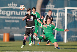 09.01.2015, Hotel Regnun Carya, Belek, TUR, FS Vorbereitung, Fussball Testspiel, SV Werder Bremen vs FC Energie Cottbus, im Bild Philipp Bargfrede (SV Werder Bremen #44) im Zweikampf gegen Fanol Perdedaj (FC Energie Cottbus #8) // during a international football frindly match between SV Werder Bremen vs FC Energie Cottbus at the Hotel Regnun Carya in Belek, Turkey on 2015/01/09. EXPA Pictures © 2015, PhotoCredit: EXPA/ Eibner-Pressefoto/ Schueler<br /> <br /> *****ATTENTION - OUT of GER*****
