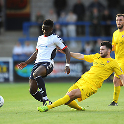 TELFORD COPYRIGHT MIKE SHERIDAN 14/8/2018 - Daniel Udoh of AFC Telford battles for the ball with Connor Hall during the Vanarama Conference North fixture between AFC Telford United and Brackley Town.
