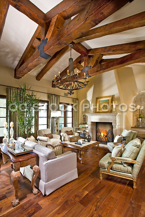Interior Stock Photo of Large Living Room with Hardwood Floors