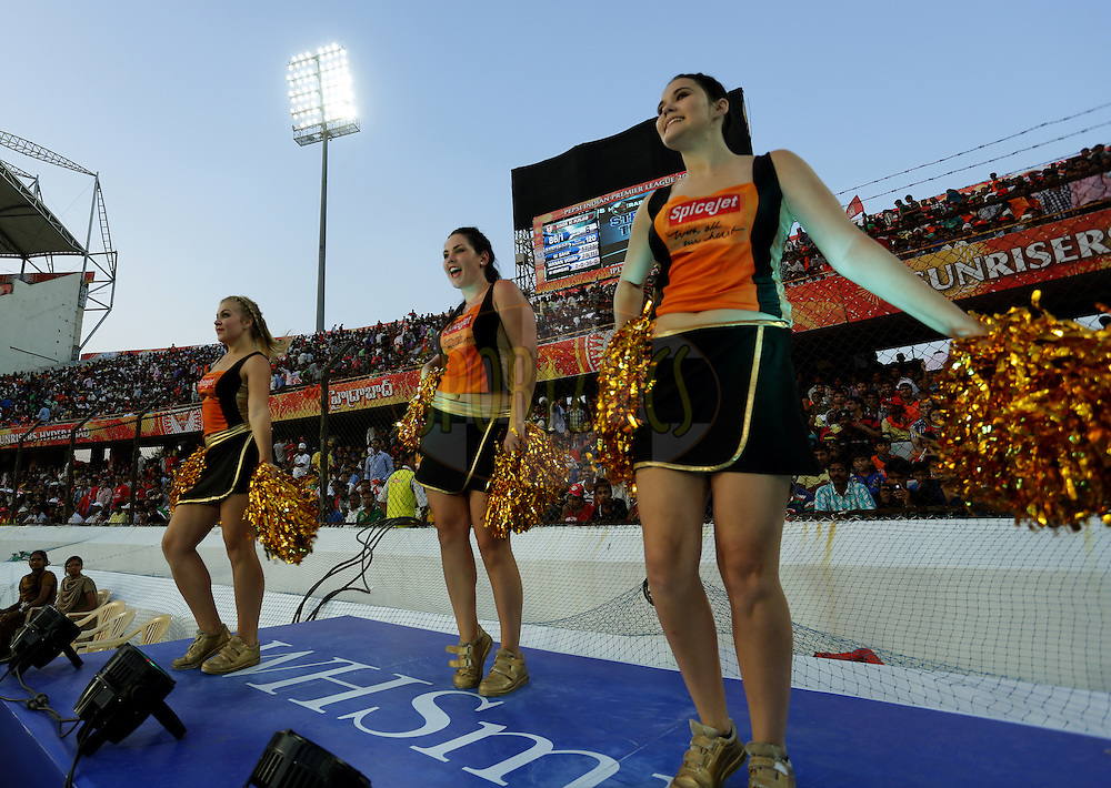Cheer Girls of Sunrisers Hyderabad  performs during match 39 of the Pepsi Indian Premier League Season 2014 between the Sunrisers Hyderabad and the Kings XI Punjab held at the Rajiv Gandhi Cricket Stadium, Hyderabad, India on the 14th May  2014<br /> <br /> Photo by Sandeep Shetty / IPL / SPORTZPICS<br /> <br /> <br /> <br /> Image use subject to terms and conditions which can be found here:  http://sportzpics.photoshelter.com/gallery/Pepsi-IPL-Image-terms-and-conditions/G00004VW1IVJ.gB0/C0000TScjhBM6ikg